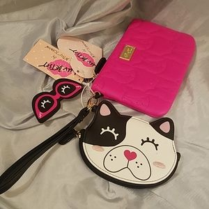 Betsey johnson 2pc wristlet dog nwt